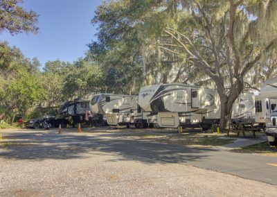 Big RVs in campsites